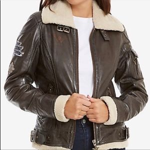 DC comics Sherpa leather bomber jacket. Gorgeous!